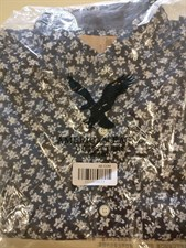 American Eagle Navy Blue Shirt With White Flowers-Medium