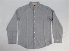 American Eagle Outfitters Men's Spotted L/S Button Front Shirt Grey-Large